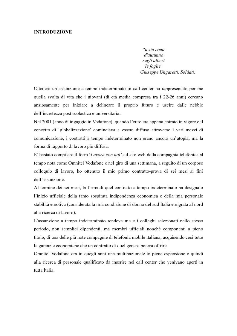 Anteprima della tesi: Call center, rifugio o trappola?, Pagina 2