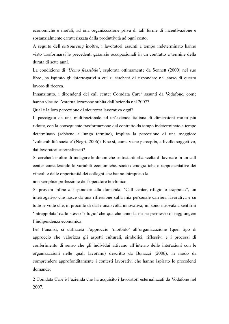 Anteprima della tesi: Call center, rifugio o trappola?, Pagina 4