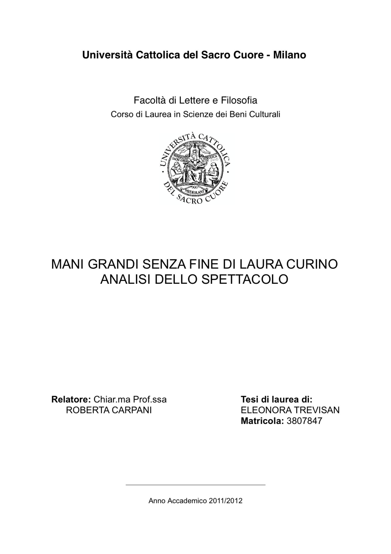 """Anteprima della tesi: """"Mani grandi, senza fine"""" di Laura Curino. Analisi dello spettacolo, Pagina 1"""