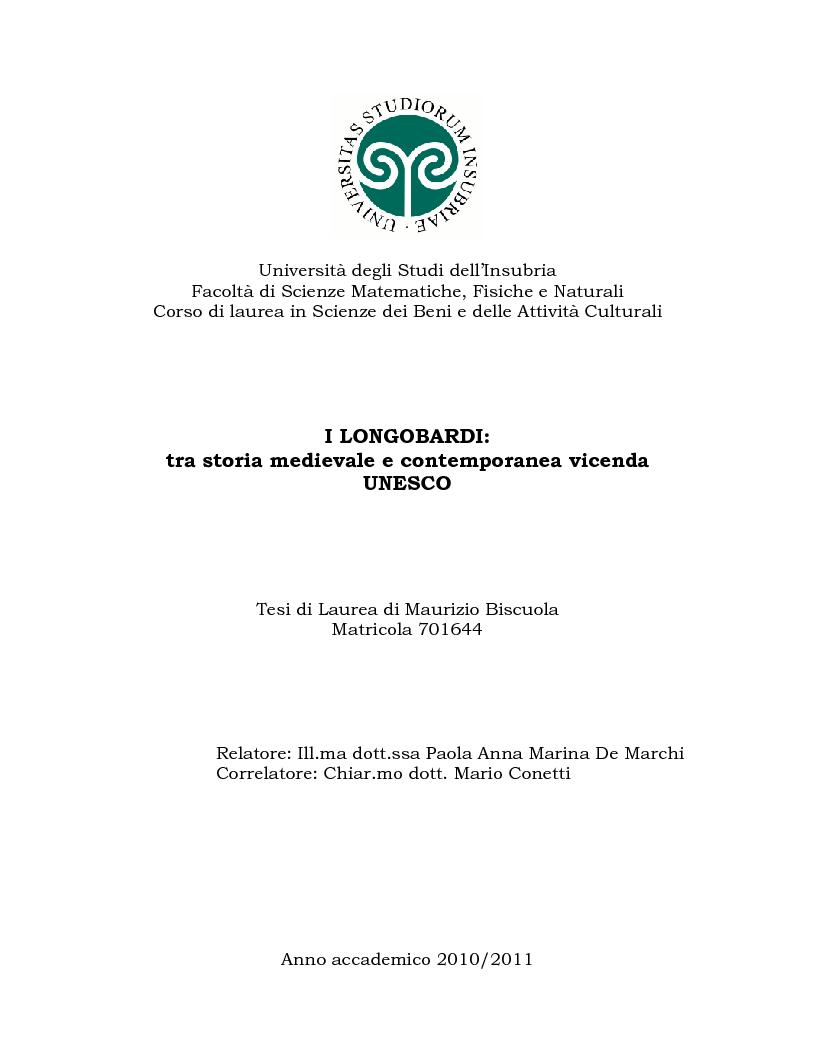 Anteprima della tesi: I Longobardi: tra storia medievale e contemporanea vicenda UNESCO, Pagina 1