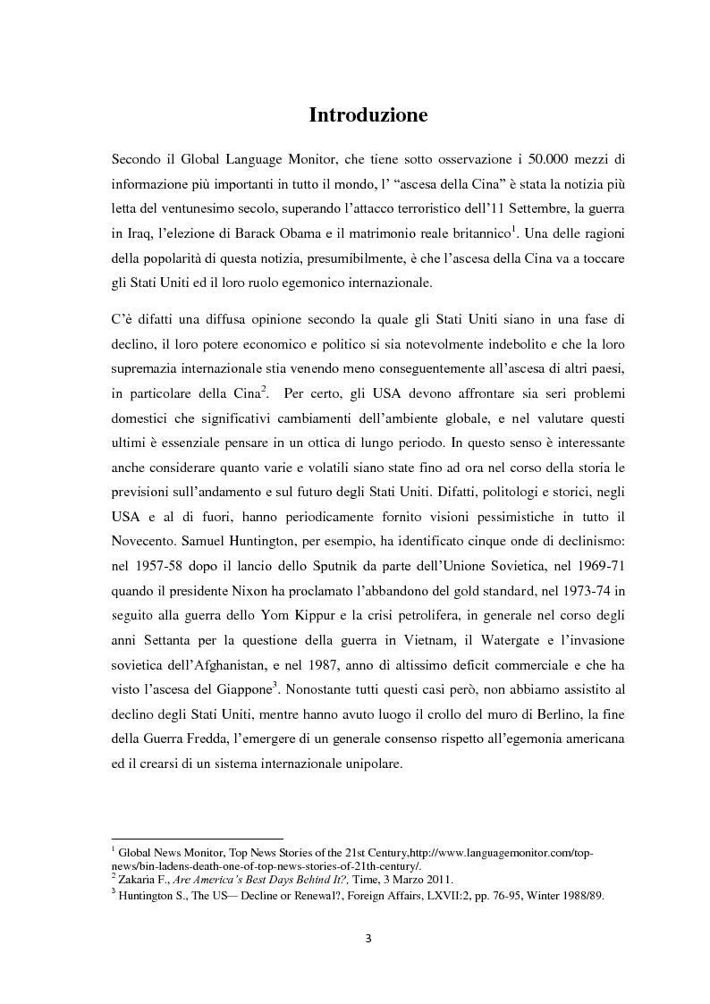 Anteprima della tesi: Transizione di potenza nell'ordine internazionale: l'egemonia degli Stati Uniti di fronte l'ascesa della Cina, Pagina 2