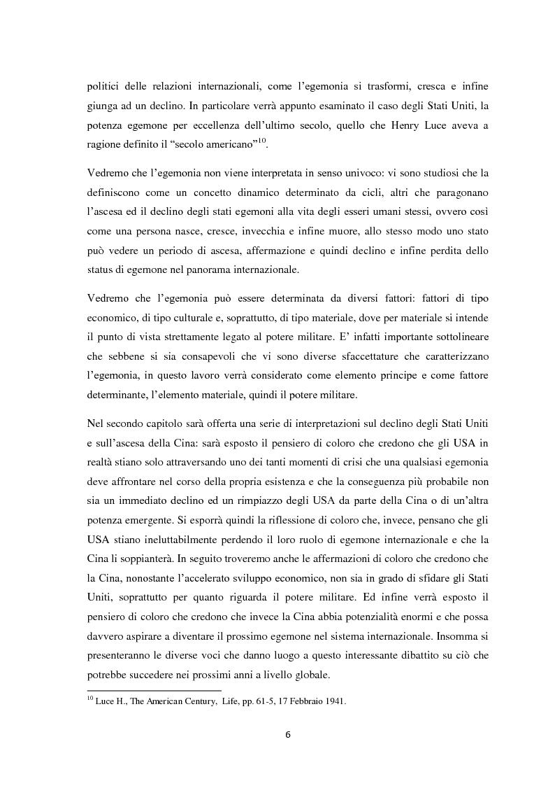 Anteprima della tesi: Transizione di potenza nell'ordine internazionale: l'egemonia degli Stati Uniti di fronte l'ascesa della Cina, Pagina 5
