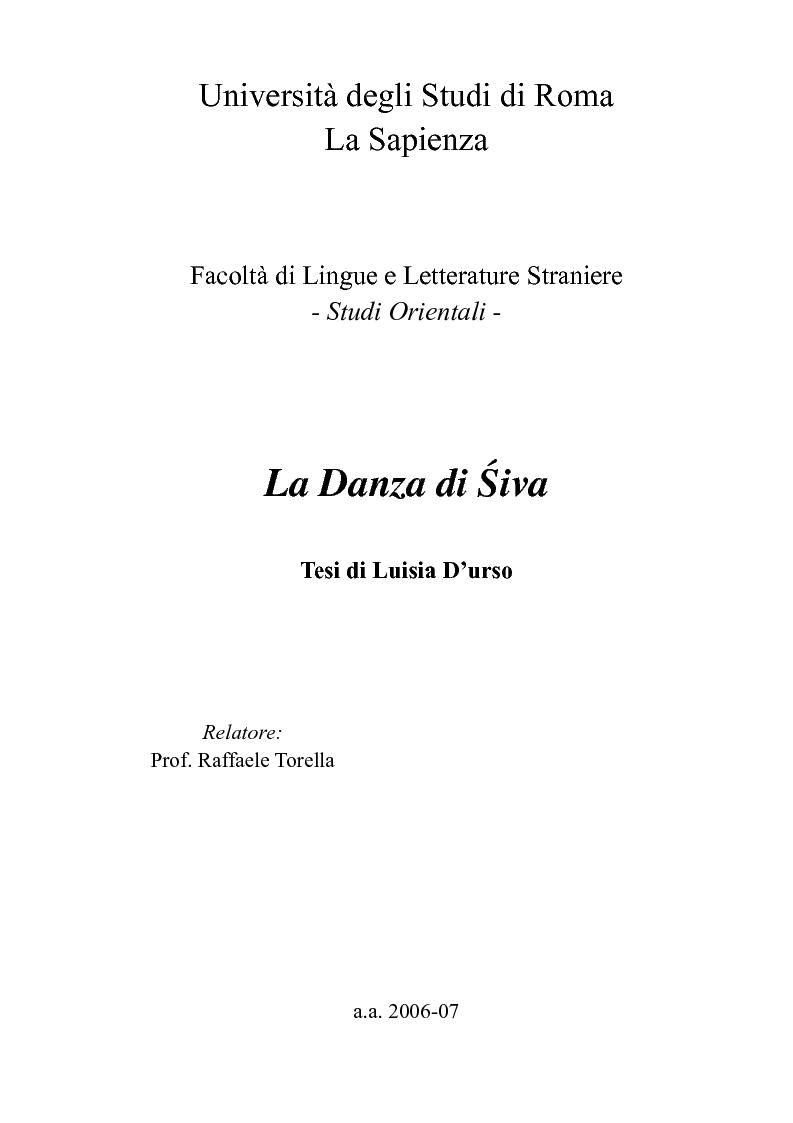 Anteprima della tesi: La Danza di Śiva, Pagina 1