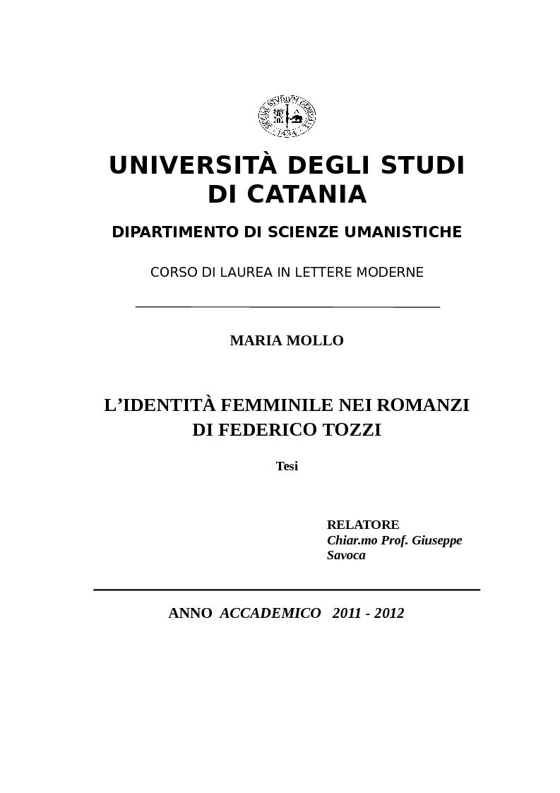 Anteprima della tesi: L'identità femminile nei romanzi di Federico Tozzi, Pagina 1