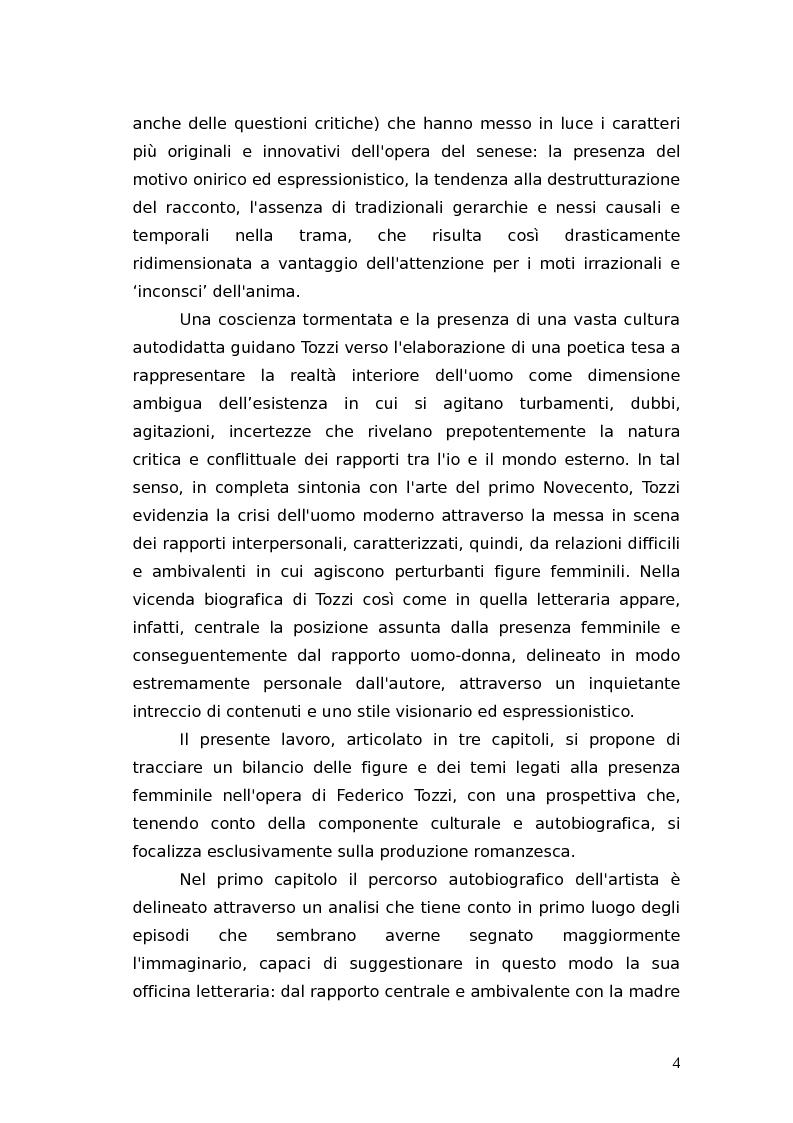Anteprima della tesi: L'identità femminile nei romanzi di Federico Tozzi, Pagina 3