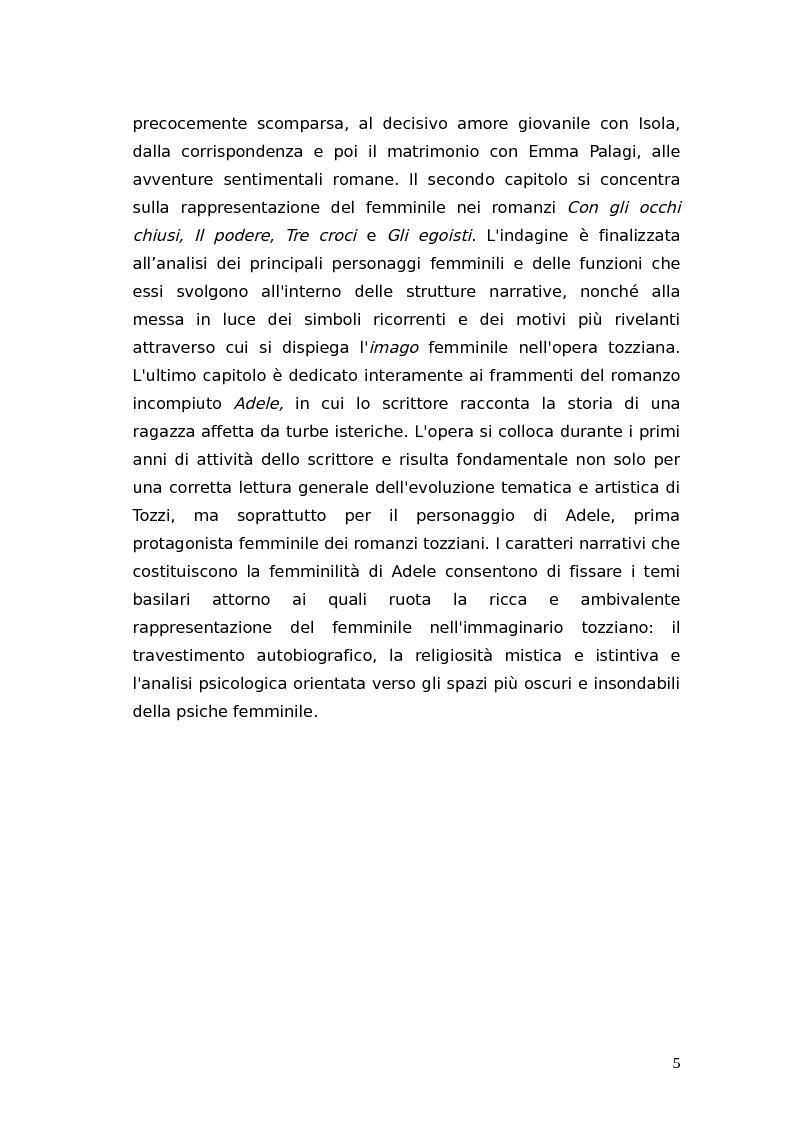 Anteprima della tesi: L'identità femminile nei romanzi di Federico Tozzi, Pagina 4