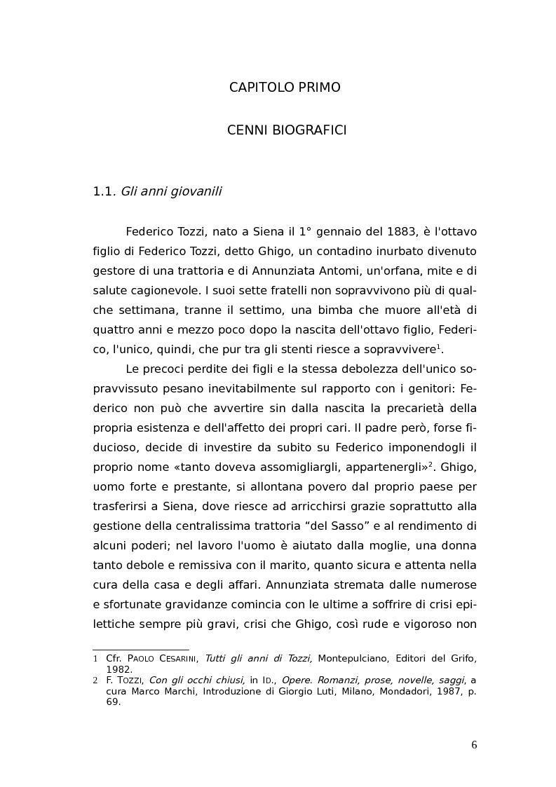 Anteprima della tesi: L'identità femminile nei romanzi di Federico Tozzi, Pagina 5