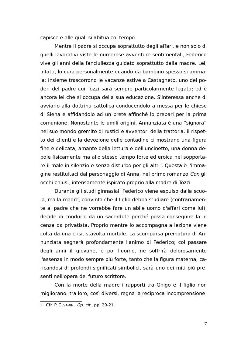 Anteprima della tesi: L'identità femminile nei romanzi di Federico Tozzi, Pagina 6