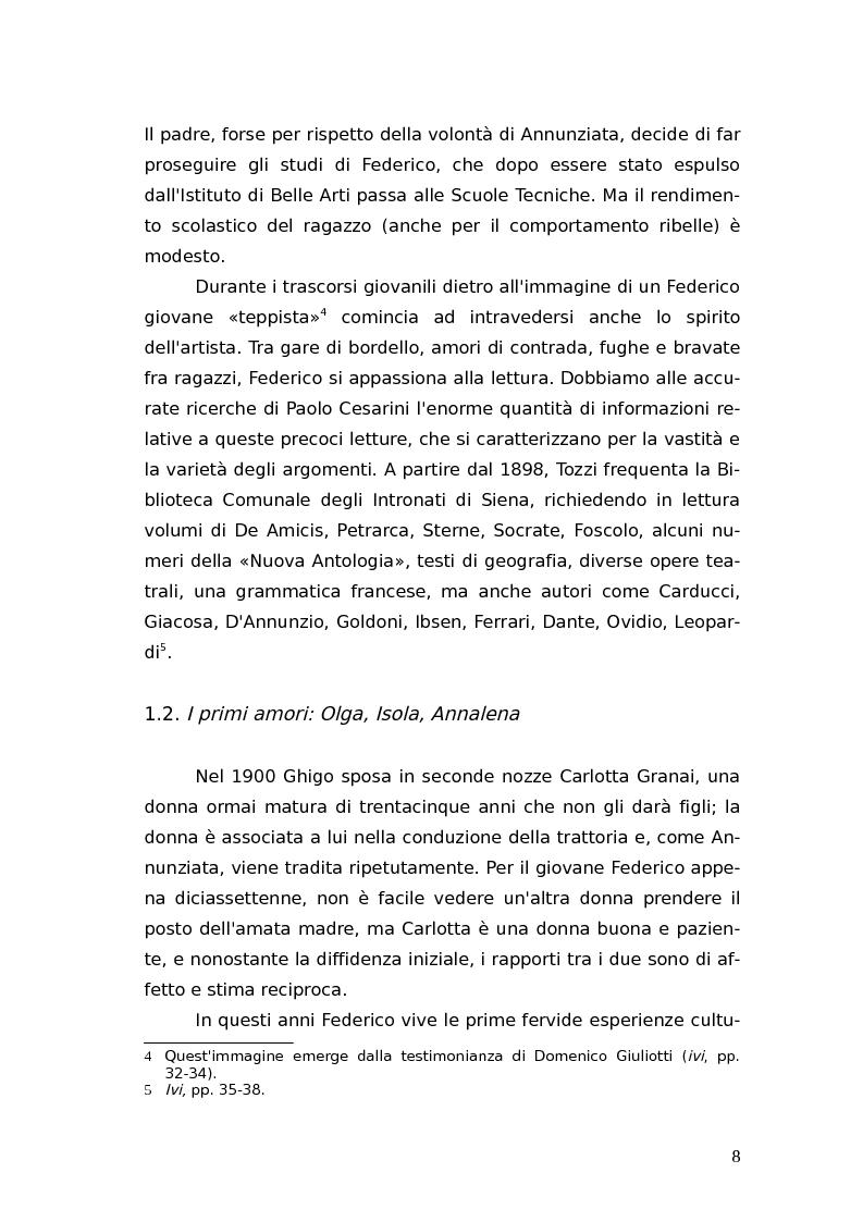 Anteprima della tesi: L'identità femminile nei romanzi di Federico Tozzi, Pagina 7