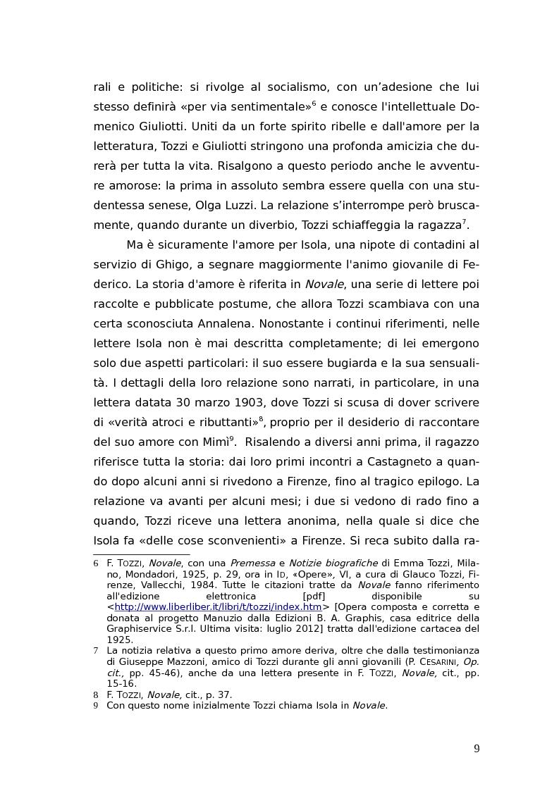 Anteprima della tesi: L'identità femminile nei romanzi di Federico Tozzi, Pagina 8