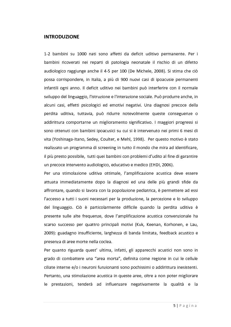 Anteprima della tesi: Gli effetti della compressione non lineare e della trasposizione lineare in frequenza sulla percezione verbale nei bambini in età scolare, Pagina 2