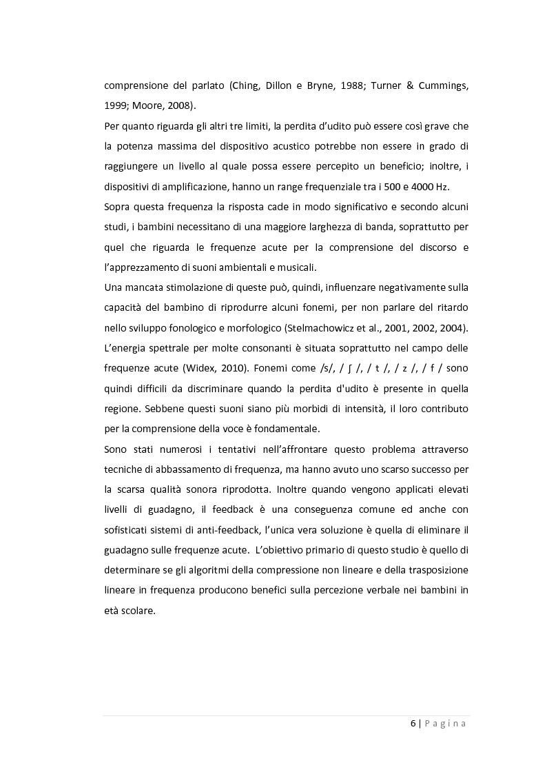 Anteprima della tesi: Gli effetti della compressione non lineare e della trasposizione lineare in frequenza sulla percezione verbale nei bambini in età scolare, Pagina 3