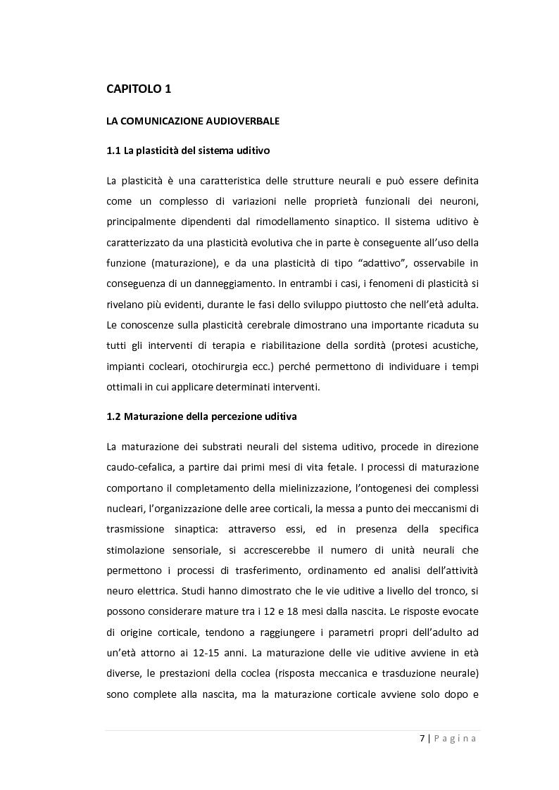 Anteprima della tesi: Gli effetti della compressione non lineare e della trasposizione lineare in frequenza sulla percezione verbale nei bambini in età scolare, Pagina 4