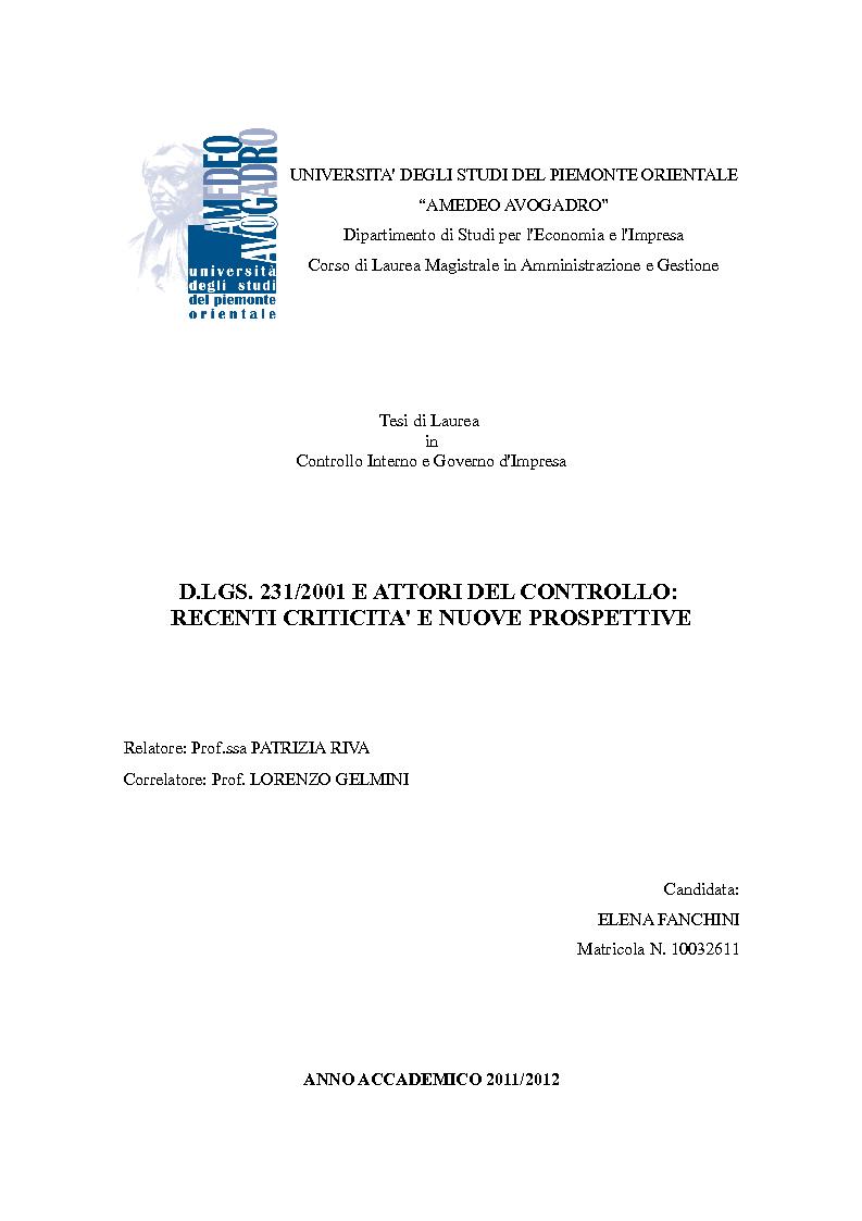 Anteprima della tesi: D.Lgs. 231/2001 e attori del controllo: recenti criticità e nuove prospettive., Pagina 1