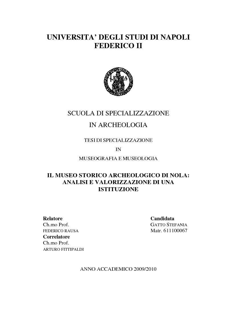 Anteprima della tesi: Il Museo Storico Archeologico di Nola: Analisi e Valorizzazione di una Istituzione, Pagina 1