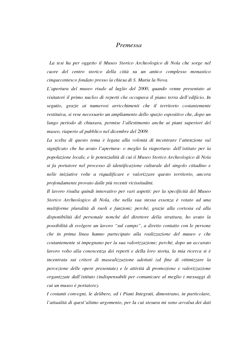 Anteprima della tesi: Il Museo Storico Archeologico di Nola: Analisi e Valorizzazione di una Istituzione, Pagina 2