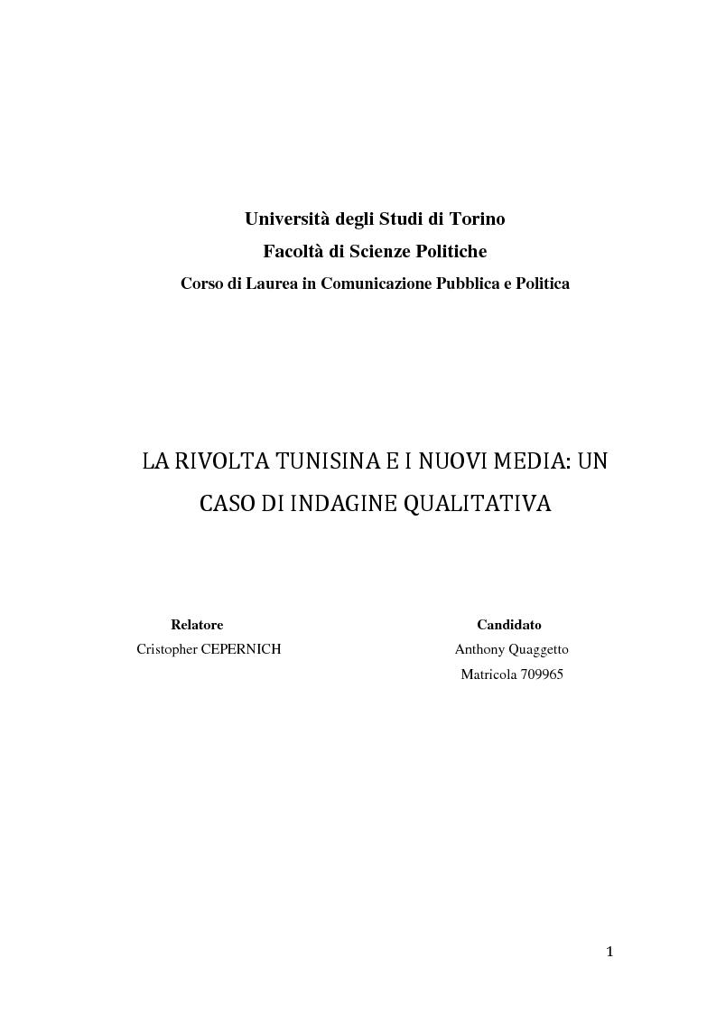 Anteprima della tesi: La rivolta tunisina e i nuovi media: un caso di indagine qualitativa., Pagina 1