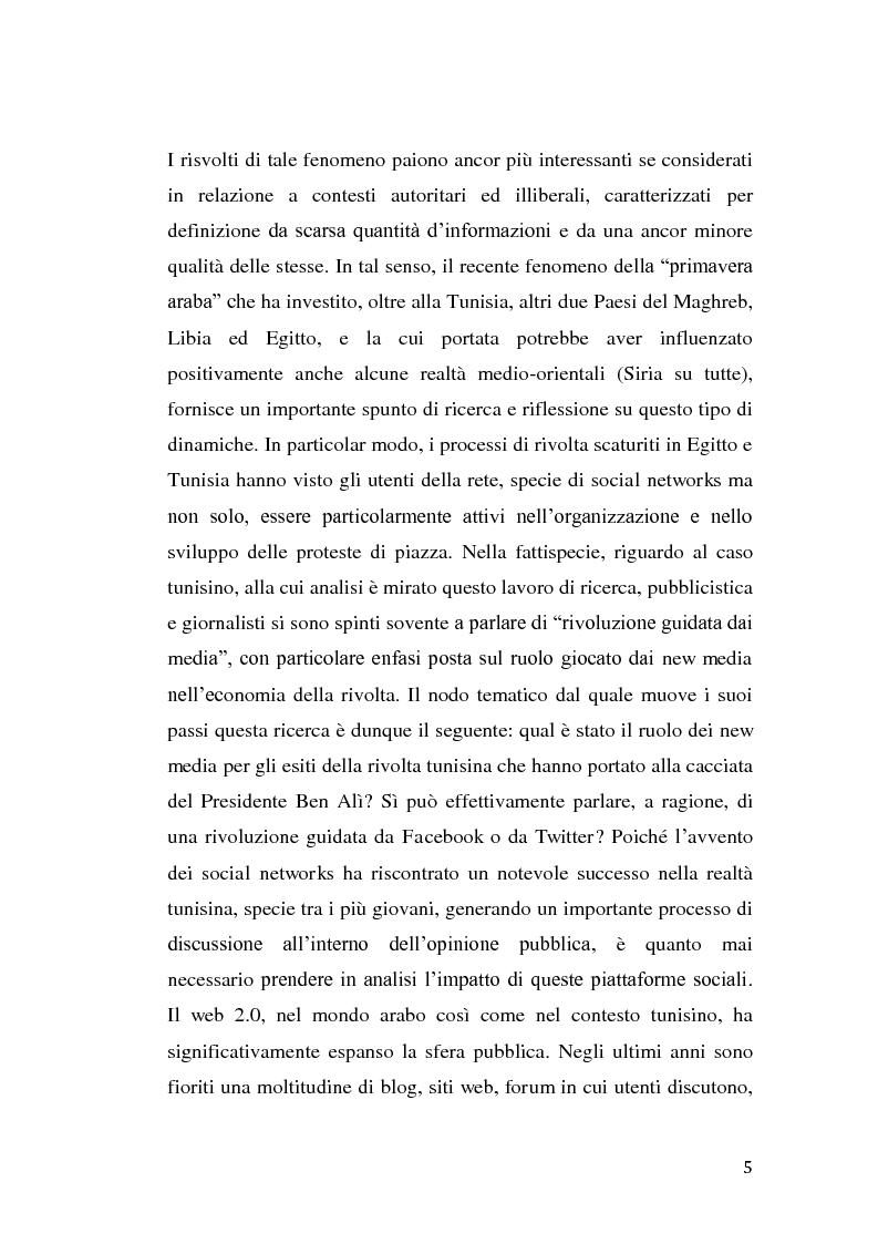 Anteprima della tesi: La rivolta tunisina e i nuovi media: un caso di indagine qualitativa., Pagina 4