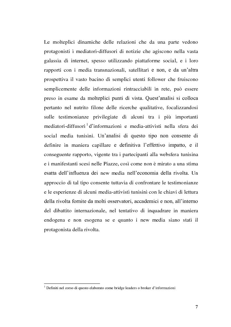 Anteprima della tesi: La rivolta tunisina e i nuovi media: un caso di indagine qualitativa., Pagina 6