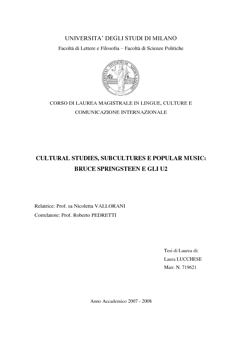 Anteprima della tesi: Cultural studies, subcultures e popular music: Bruce Springsteen e gli U2, Pagina 1