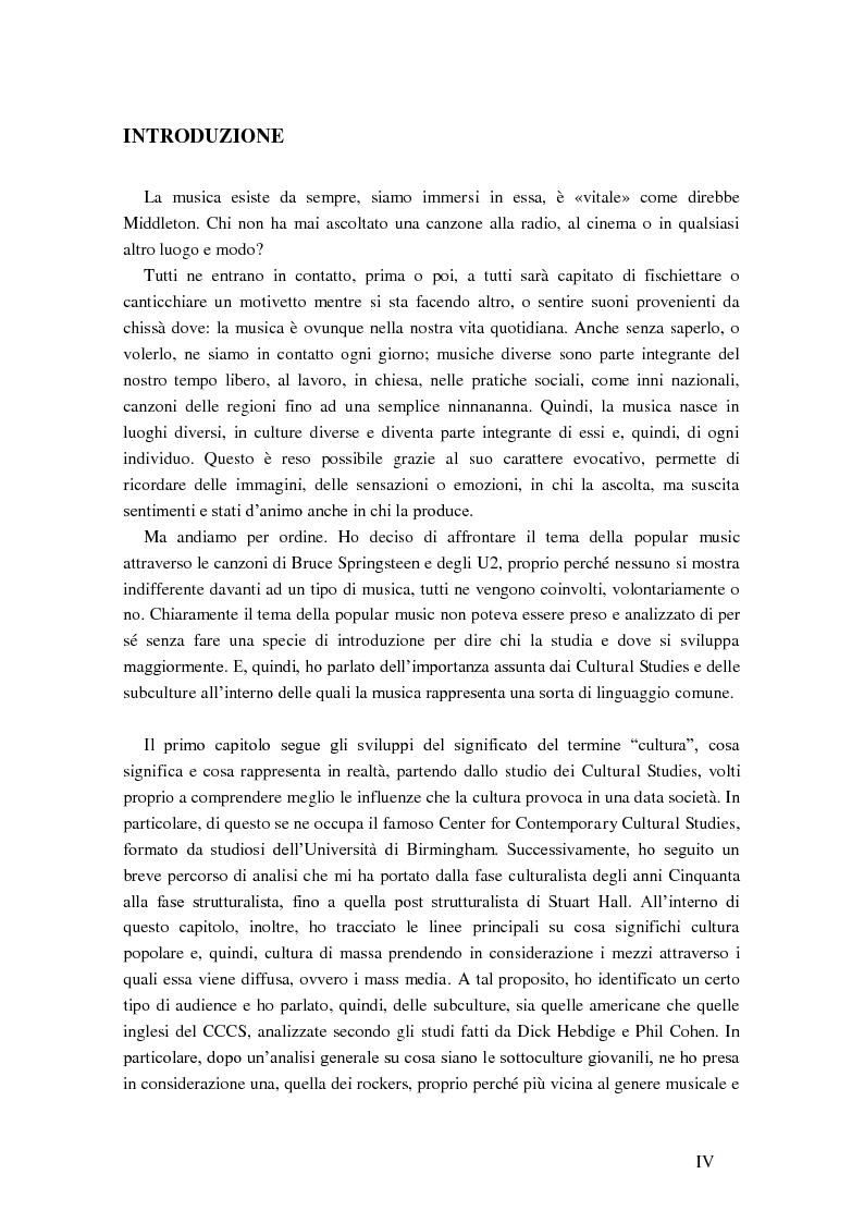 Anteprima della tesi: Cultural studies, subcultures e popular music: Bruce Springsteen e gli U2, Pagina 2
