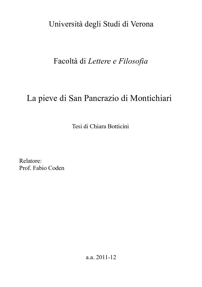Anteprima della tesi: La pieve di San Pancrazio di Montichiari, Pagina 1