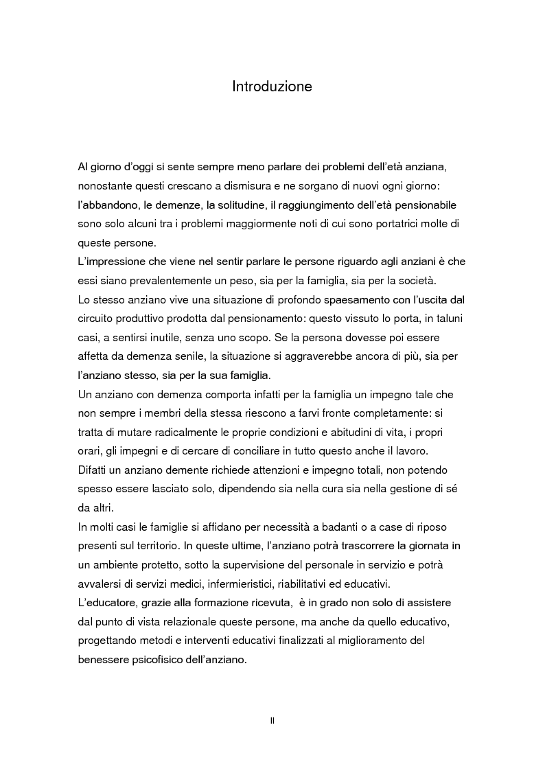 Anteprima della tesi: L'educazione come terapia per le persone con il morbo di Alzheimer, Pagina 2
