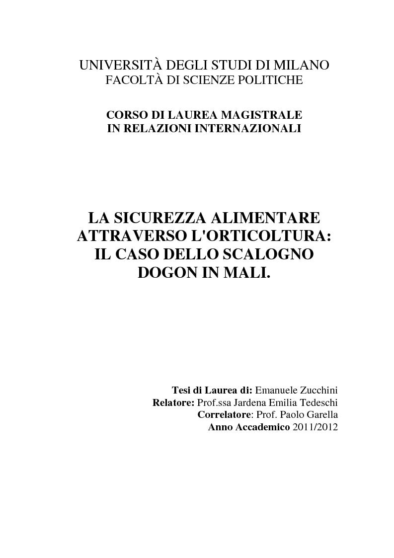Anteprima della tesi: La sicurezza alimentare attraverso l'orticoltura: il caso dello scalogno Dogon in Mali, Pagina 1