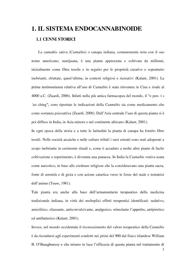 Anteprima della tesi: Endocannabinoidi e consolidamento della memoria emozionale nel ratto: meccanismi neurobiologici, Pagina 2