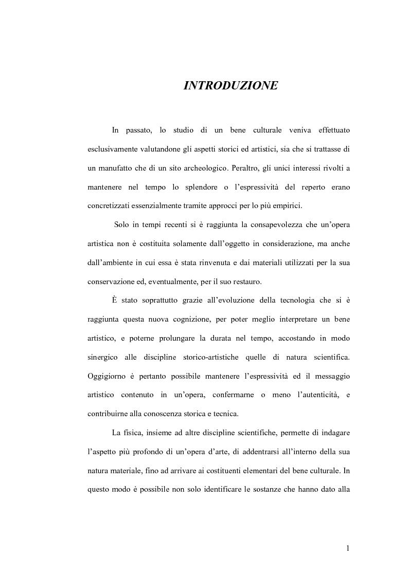 Anteprima della tesi: Fluorescenza X nel campo dei beni culturali, Pagina 2