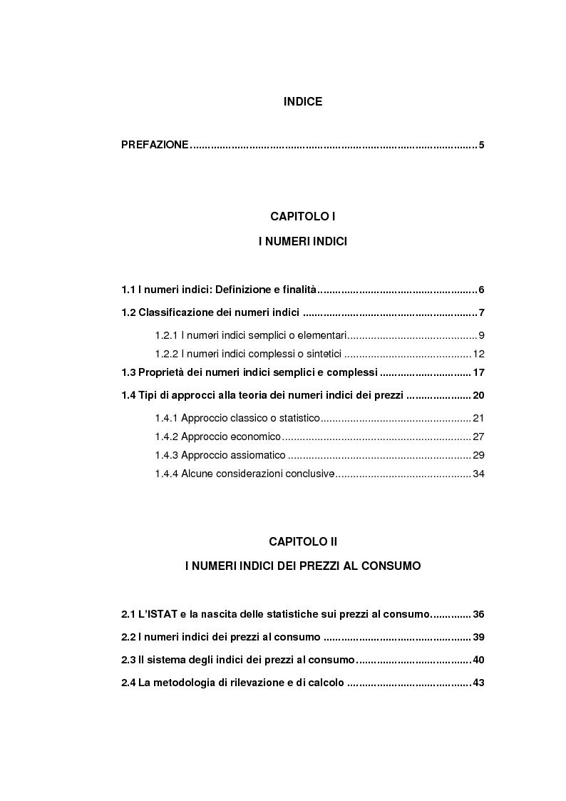 Indice della tesi: Indagine sull'evoluzione dei consumi delle famiglie italiane tramite lo studio dei numeri indice dei prezzi al consumo, Pagina 1
