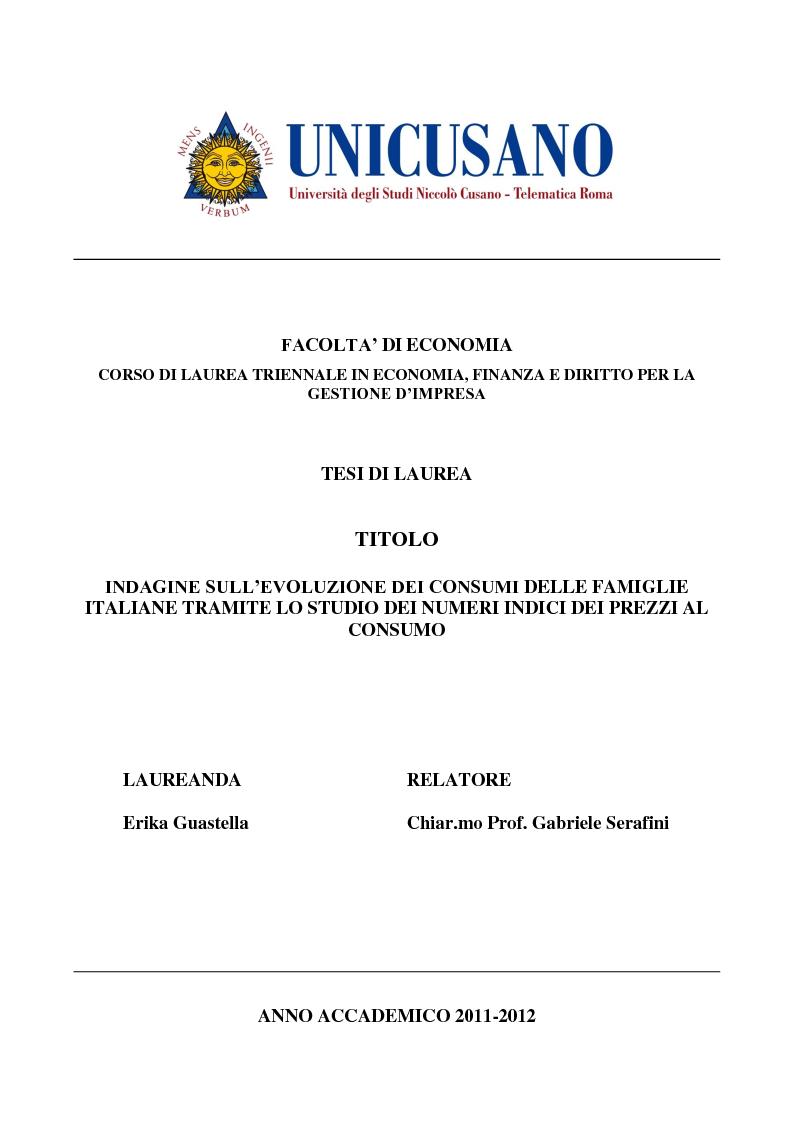 Anteprima della tesi: Indagine sull'evoluzione dei consumi delle famiglie italiane tramite lo studio dei numeri indice dei prezzi al consumo, Pagina 1
