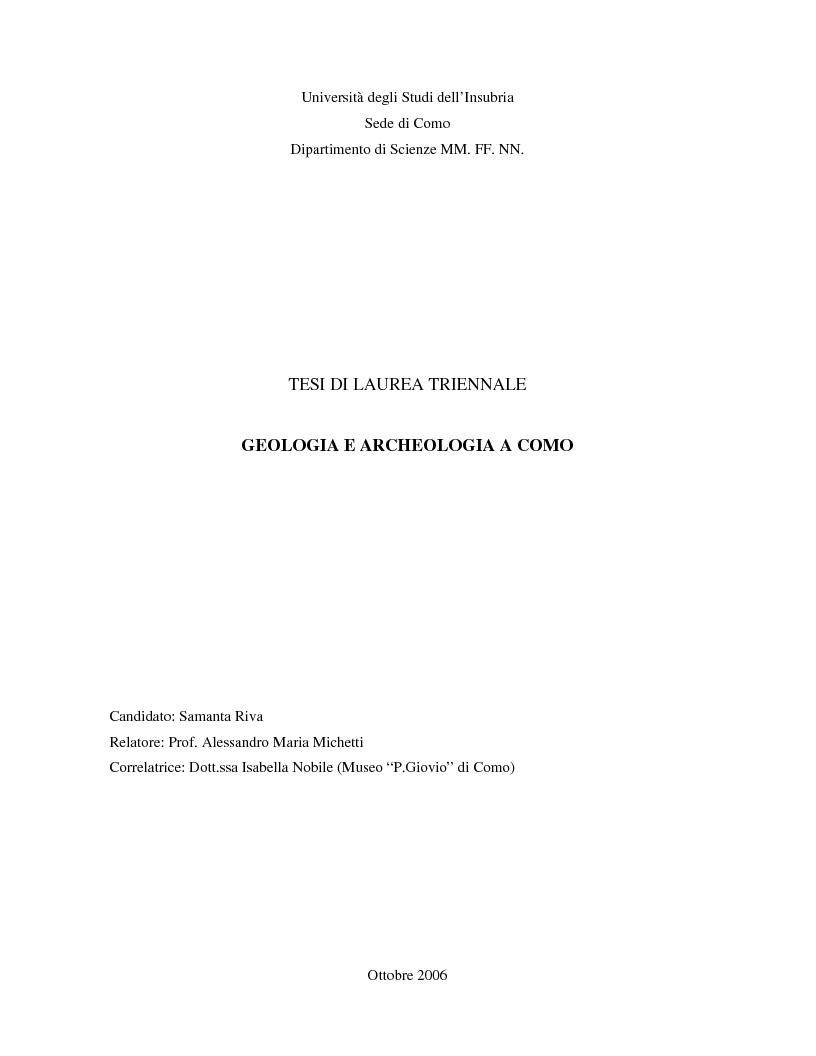 Anteprima della tesi: Geologia e Archeologia a Como, Pagina 1