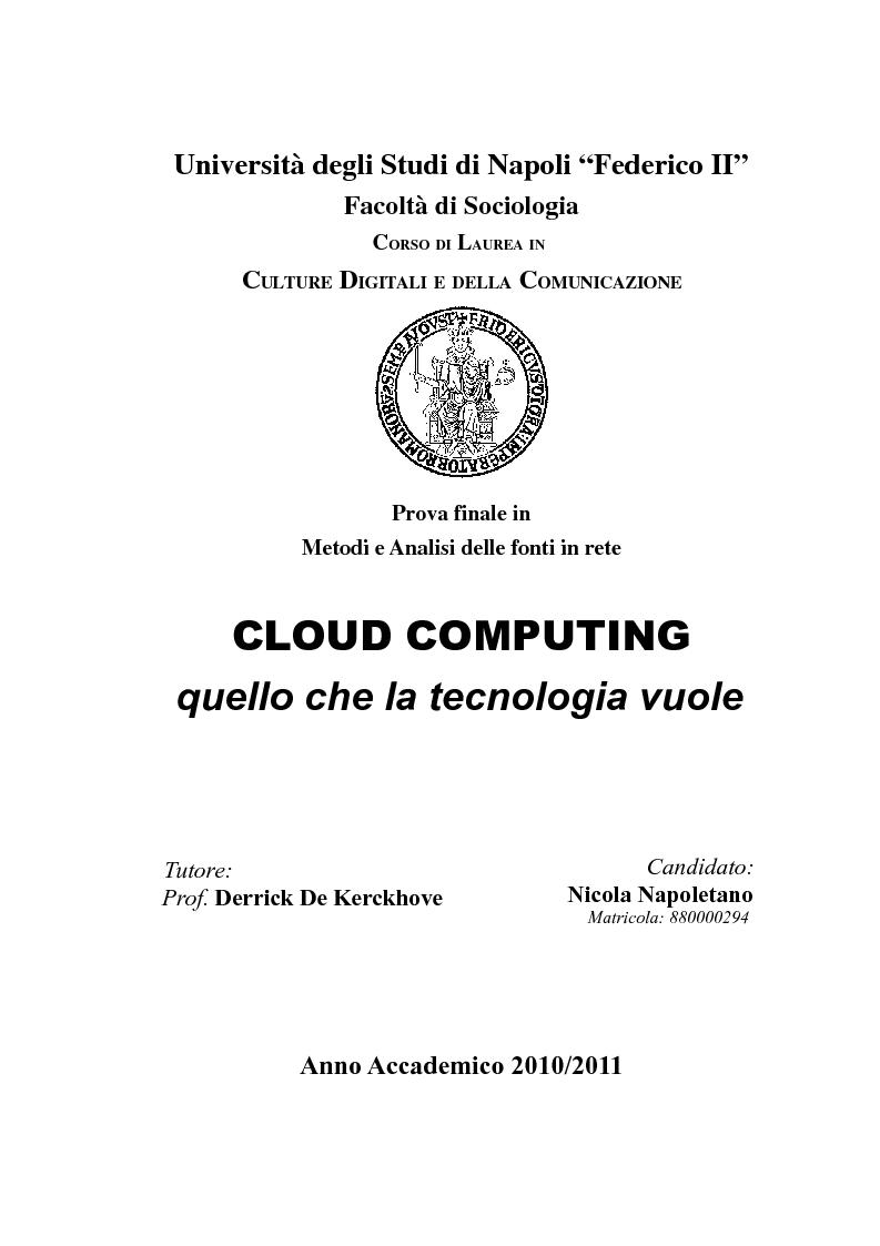 Anteprima della tesi: Cloud Computing, quello che la tecnologia vuole, Pagina 1