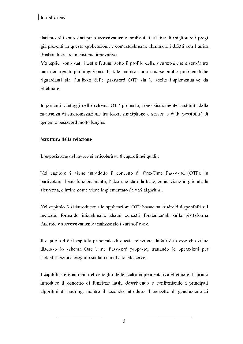 Anteprima della tesi: Progettazione di uno schema di autenticazione OTP tramite la piattaforma Android e la generazione di QR - Code, Pagina 4