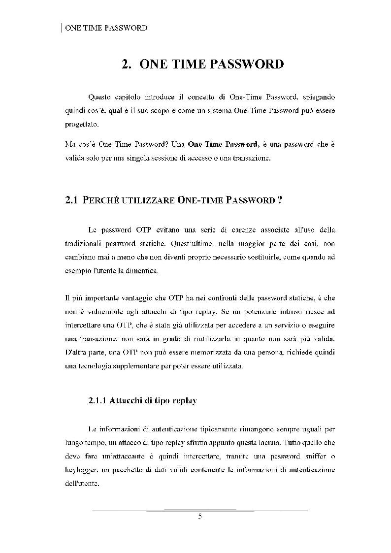 Anteprima della tesi: Progettazione di uno schema di autenticazione OTP tramite la piattaforma Android e la generazione di QR - Code, Pagina 6