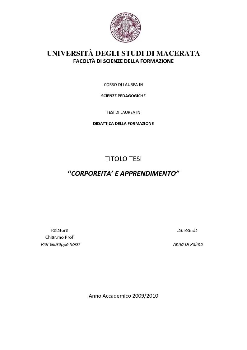 Anteprima della tesi: Corporeità e Apprendimento, Pagina 1