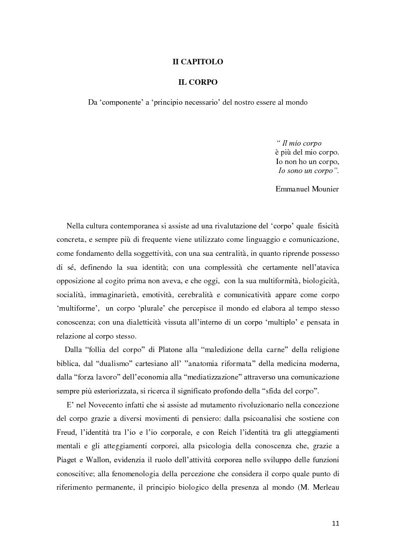 Anteprima della tesi: Corporeità e Apprendimento, Pagina 10