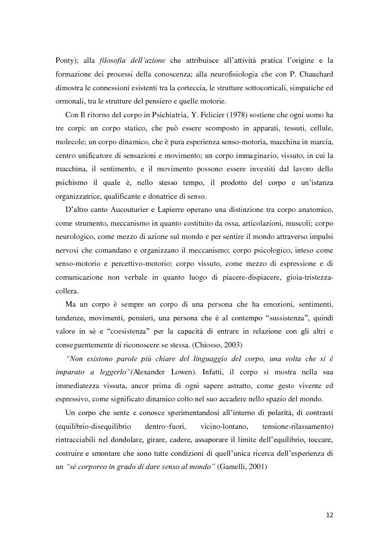 Anteprima della tesi: Corporeità e Apprendimento, Pagina 11