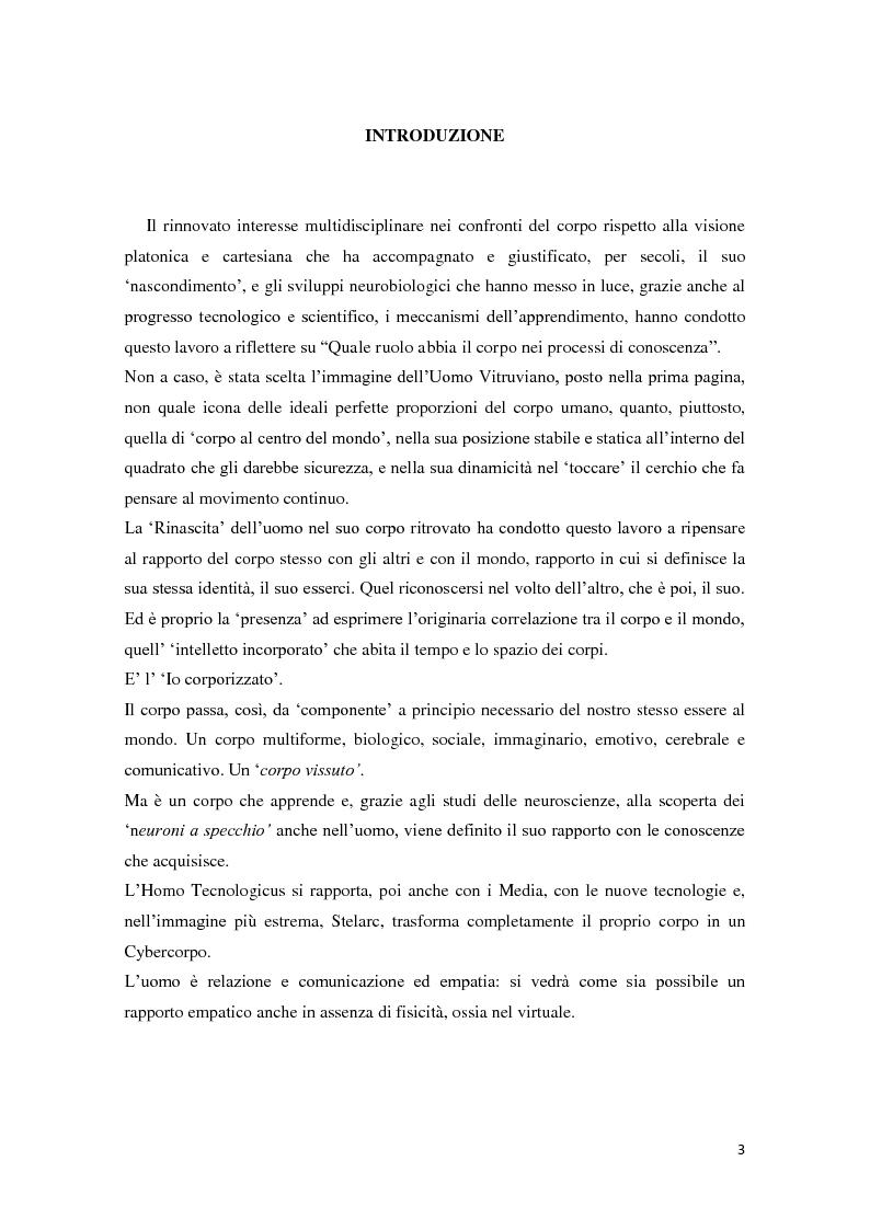 Anteprima della tesi: Corporeità e Apprendimento, Pagina 2