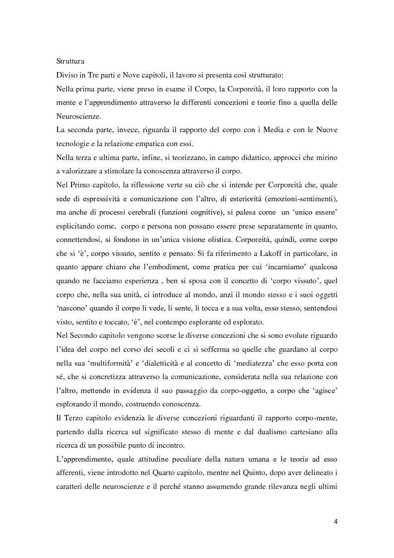 Anteprima della tesi: Corporeità e Apprendimento, Pagina 3