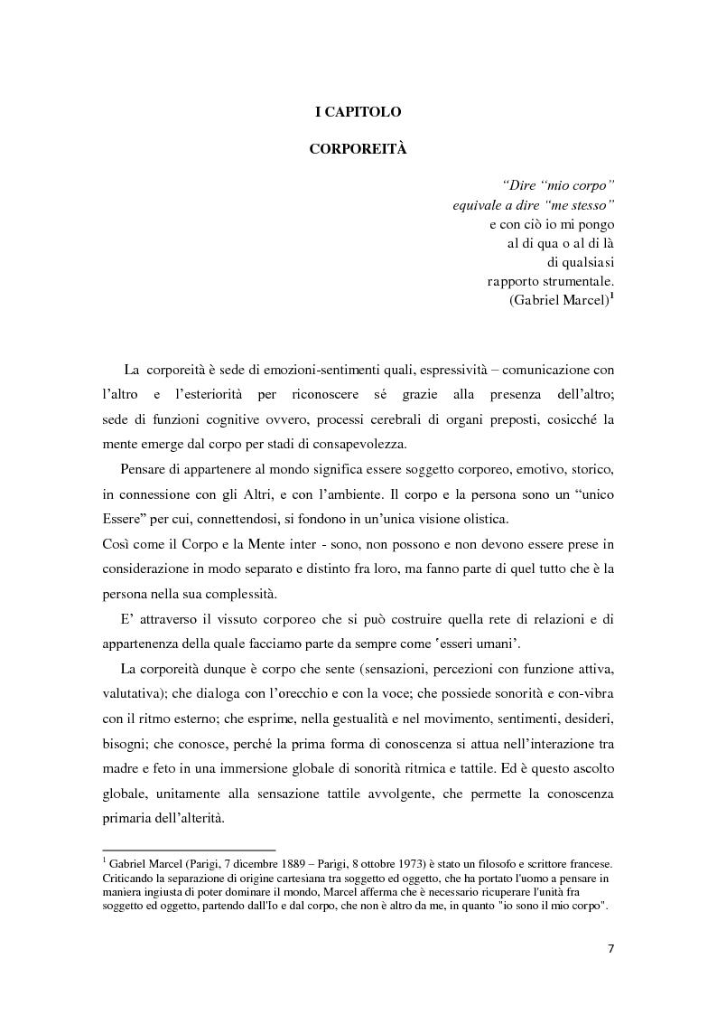 Anteprima della tesi: Corporeità e Apprendimento, Pagina 6