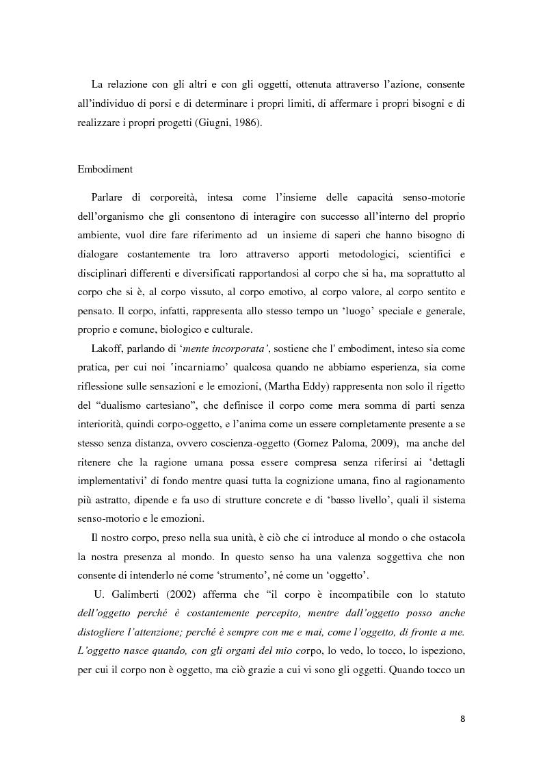Anteprima della tesi: Corporeità e Apprendimento, Pagina 7
