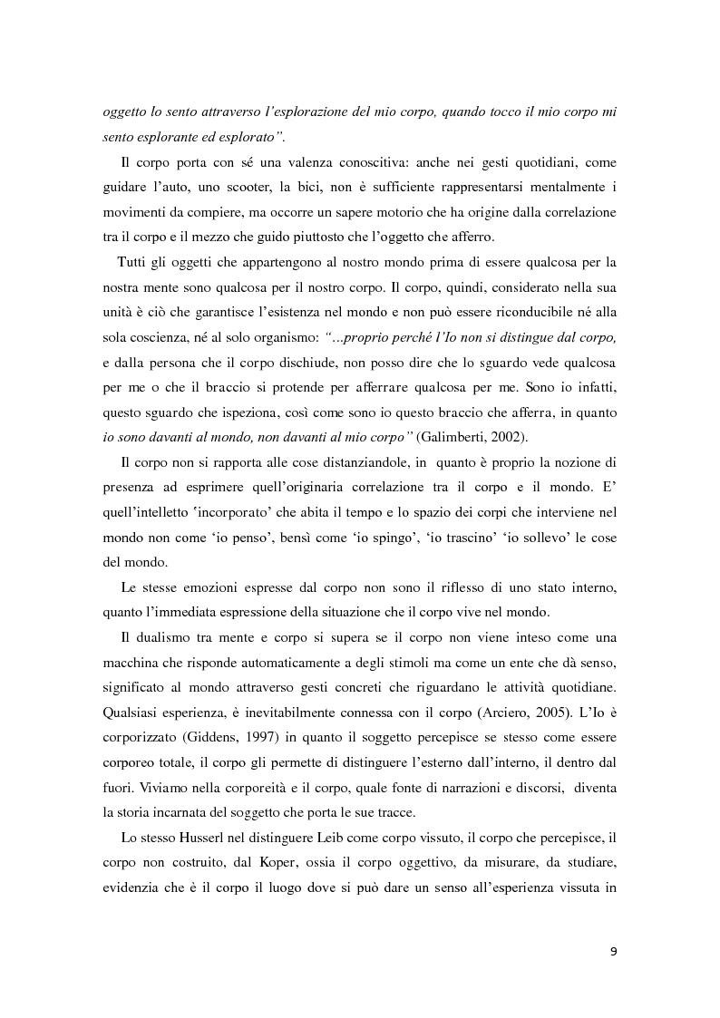 Anteprima della tesi: Corporeità e Apprendimento, Pagina 8