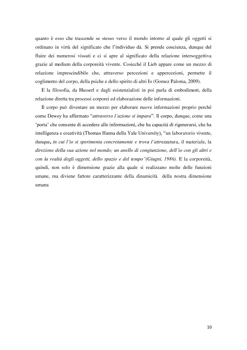 Anteprima della tesi: Corporeità e Apprendimento, Pagina 9