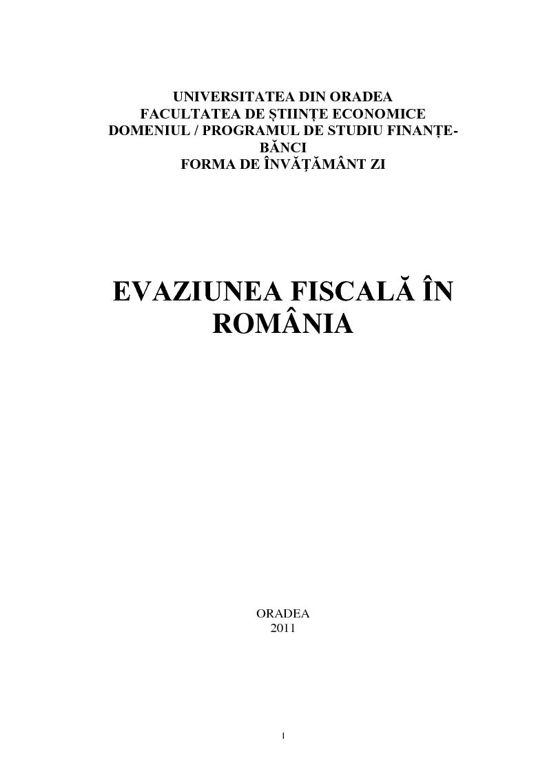 Anteprima della tesi: Evaziunea fiscala in Romania, Pagina 1