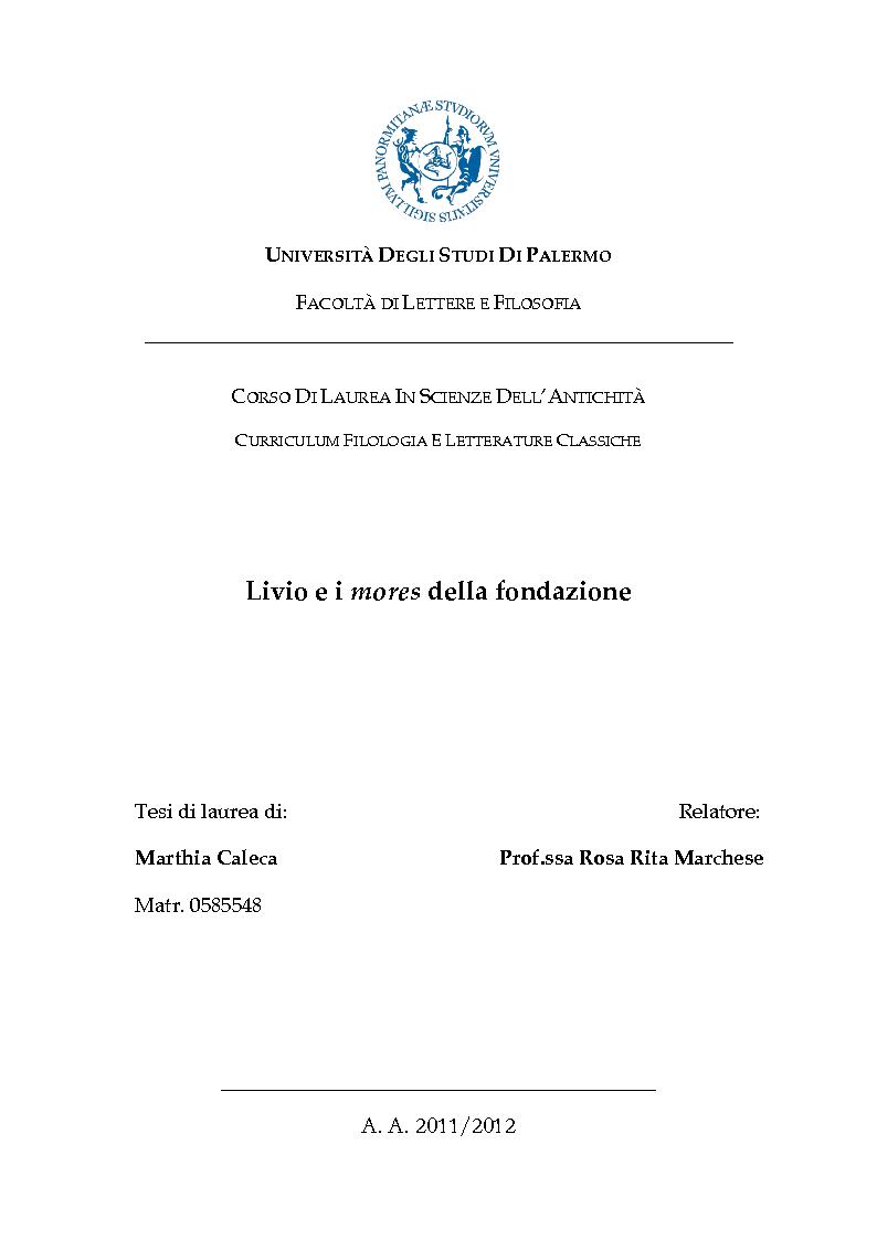 Anteprima della tesi: Livio e i mores della fondazione, Pagina 1