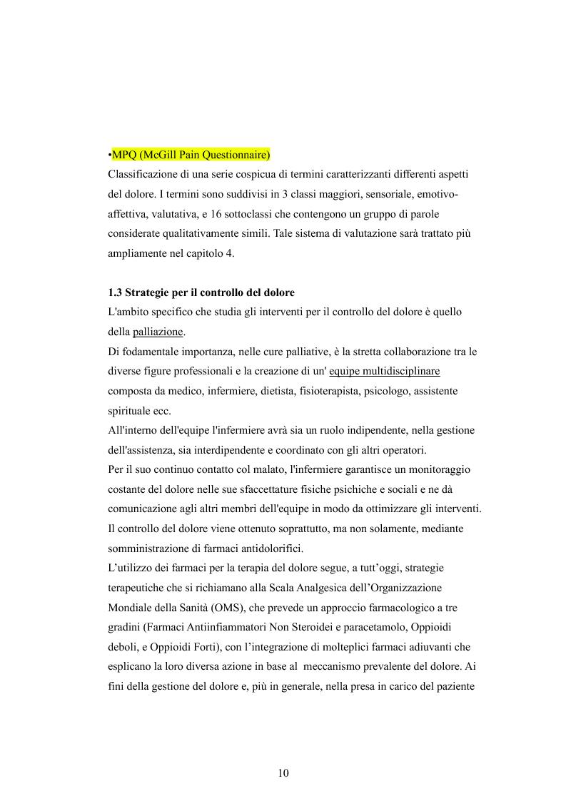 Anteprima della tesi: Il dolore oncologico: rilevazione dei bisogni dei pazienti in una degenza di oncologia medica e potenziale ruolo dell'agopuntura, Pagina 7