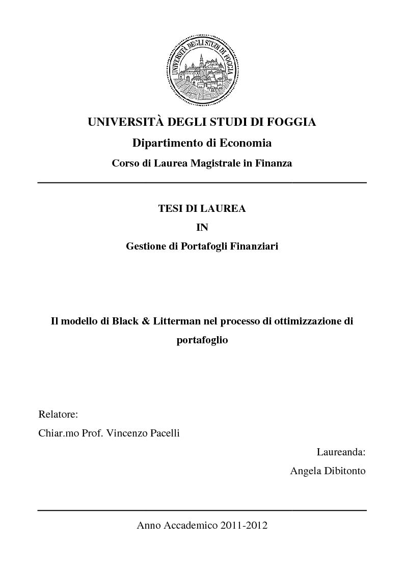 Anteprima della tesi: Il modello di Black & Litterman nel processo di ottimizzazione di portafoglio, Pagina 1