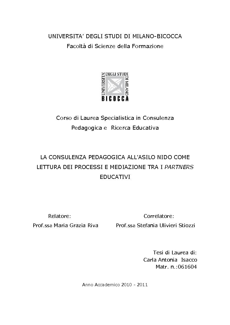 Anteprima della tesi: La consulenza pedagogica all'asilo nido come lettura dei processi e mediazione tra i partners educativi, Pagina 1